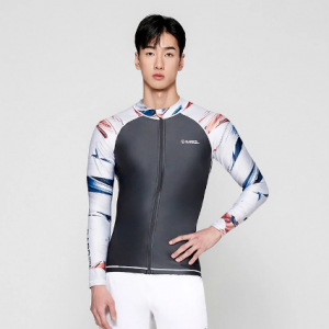 Barrel Mens Kua Pattern Zip-Up Rashguard-DARK GREY hk