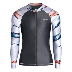 Barrel Mens Kua Pattern Zip-Up Rashguard-DARK GREY