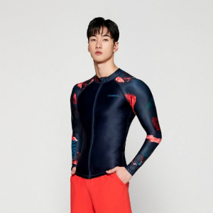 Barrel Mens Kua Pattern Zip-Up Rashguard-DEEP NAVY
