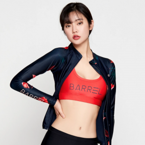 Barrel Womens Piha Pattern Zip-Up Rashguard-DEEP NAVY hk