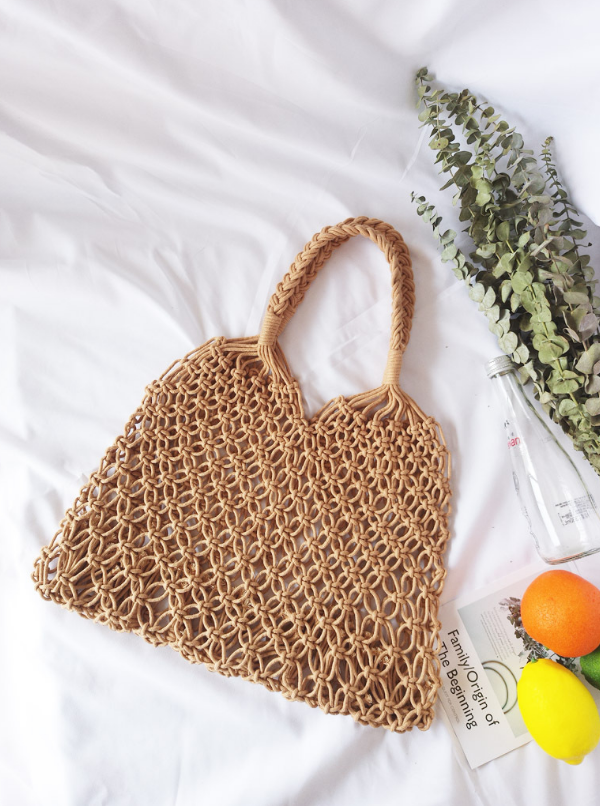 Brown Fashionable Beach Handbag Mesh Net/Straw Tote Bag