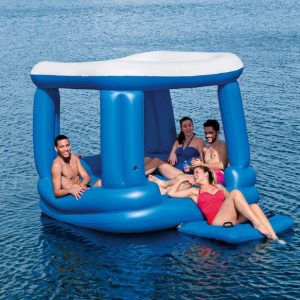 Bestway Inflatable Floating House Lounge 4-6 People Floating Bed