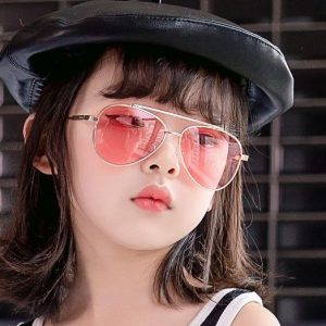 Vintage Kids Black and Brown Cat Eye Sunglasses with metal frame
